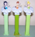 Gray Flower Euro Fairies Pez Fawn, Silvermist and Tinkerbelle