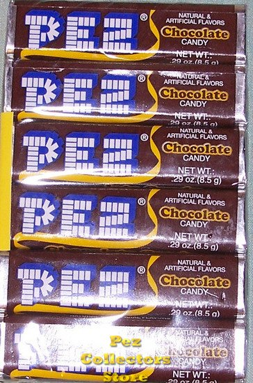 1 package of 6 rolls of Chocolate Flavor Pez Candy Refills - Click Image to Close