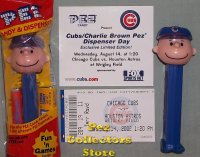 2002 Cubs Charlie Brown Pez MIB Commemorative Card and Ticket