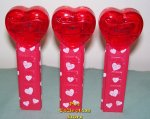 2009 Set of 3 Red Crystal Pez Short Valentine Hearts Loose