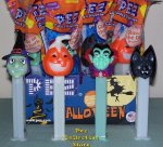 2010 Halloween Pez Vampire, Bat, Witch and Jack-o-lantern GITD