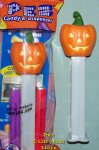 2012 Flat Top Pumpkin Pez White Glow in the Dark Stem MIB