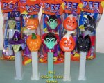 2012 Halloween Pez Pumpkin, Vampire, Bat, Witch, Jack-o-lantern