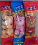 2017 Pez Valentines Plush Teddy Bears - Pink, Yellow and Brown
