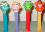 Complete set of 4 Kermit, Fozzie, Miss Piggy and Gonzo Pez Loose