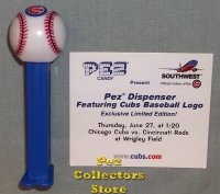 2002 Chicago Cubs Baseball Pez with Commemorative Card