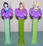 Purple Flower Euro Fairies Pez Fawn Silvermist and Tinkerbelle