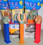 Jurassic World Pez T Rex, Raptor and Dilophosaurus MIB