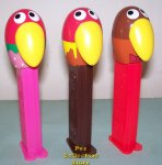 Kyoro Chan Parrot Bird Pez set of 3
