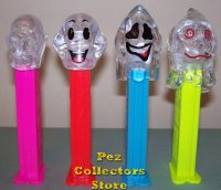 Colorless Crystal Pez Ghosts and Skull Set of 4 Pez Offer 72
