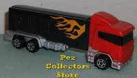 Red Cab on Black trailer with Flames Rigs Truck Pez Loose