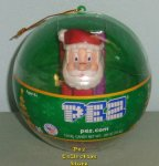Mini Santa Pez in Green Christmas Ornament