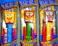 Set of 3 SpongeBob Bubbles, Yellow Crystal, and Glitter Pez MIB