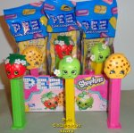 Shopkins Pez Apple Blossom, Strawberry Kiss and Kooky Cookie MIB