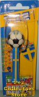 Swedish Soccer Ball Pez on Blue Stem with Yellow Cross MOC