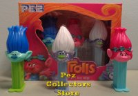 Mini Trolls Pez on mini stems in Tri-pack Boxed Set