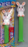 2021 White Full Body Easter Bunny Pez on Green Stem MIB