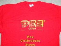 PEZ Logo in yellow on Red T-Shirt size XL