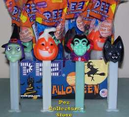 Witch, Vampire, Pumpkin and Bat Halloween Pez