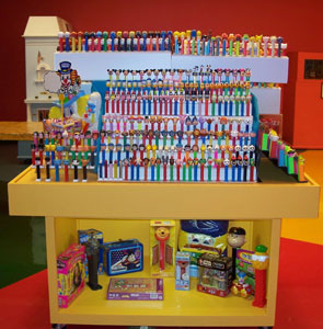 Pez Display in Baby Boomer Room at KC Toy and Miniature Museum