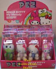 Hello Kitty My Melody and Keroppi Plush Pez Set