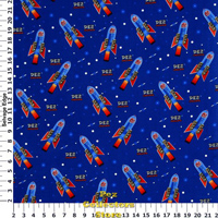 Blue Rocket Pez 100% cotton Broadcloth fabric