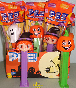 Cute Witch and Happy Pumpkin Pez for Halloween 2018