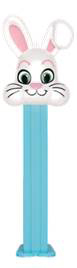 White floppy ear bunny on blue pez