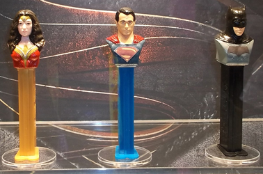 Sweet and Snack Expo Mockups for Justice League Pez Batman, Superman and Wonder Woman