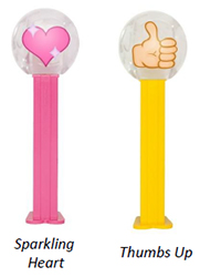 Sparkling Heart and Thumbs Up emoji pez