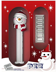 Snowman Pez boxed with Silver Pez Candy Bricks