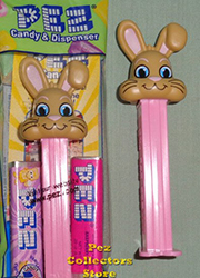 Tan Floppy Ear Bunny on Pink Stem pez
