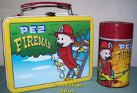 Pez Fireman Lunchbox and thermos