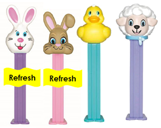 2018 Easter Bunny Pez with new stems