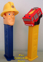 European Fireman Sam and Jupiter the Fire Truck Pez Loose
