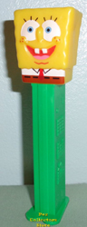 European Half Dressed Spongebob Pez on green stem
