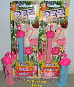 Floyd and Mable Flamingo Pez pair Mint on Card
