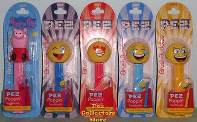 Poppin Brush Buddies Peppa Pig and Emoji Pez Toothbrushes set