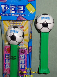 New Soccer ball on green stem with new PEZ logo