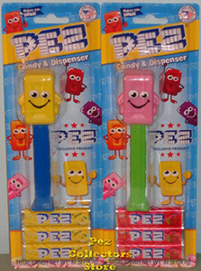 Yellow and Pink Candy Mascots Pez Mint on Card