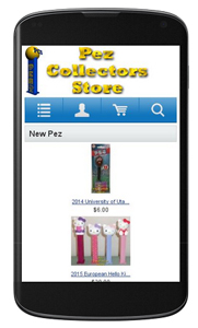 Pez Collectors Store Mobile View