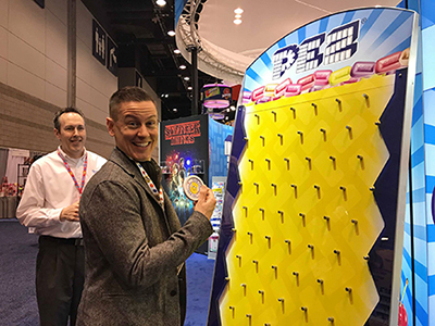 Pez Collector Brian Jaskolski at 2018 Sweets and Snacks Expo