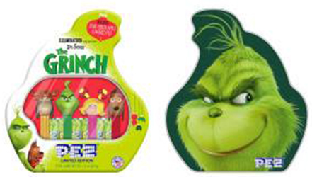 The Grinch Pez Gift tin front and back