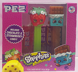 Shopkins Pez Twin Pack with Cheeky Chocolate and Strawberry Kiss