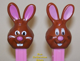 Old Bucktooth and original chocolate bunny with white tongue and eyebrows