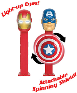 Light-up Eyes Ironman and Captain America Pez with Spinning Shield