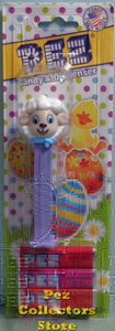 Easter Lamb Pez with Blue Eyes and Scarf Mint on Card