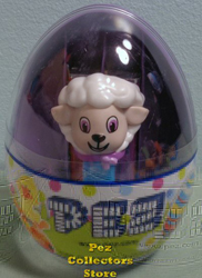 Mini Easter Lamb Pez with Purple Eyes and Kerchief in Egg