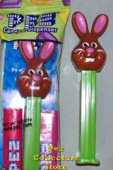 Bucktooth Chocolate Bunny Pez on green stem