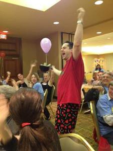 Joe in Valentine Boxers raising money & winning PHOTY